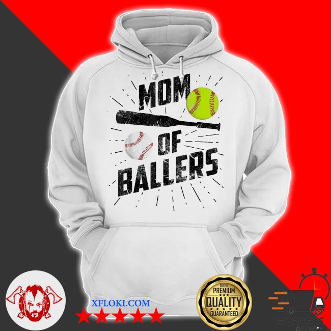 Mom of ballers funny baseball softball game mothers day us 2021 s hoodie