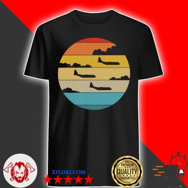 C130 hercules silhouette retro sunset airplane flying c130 shirt
