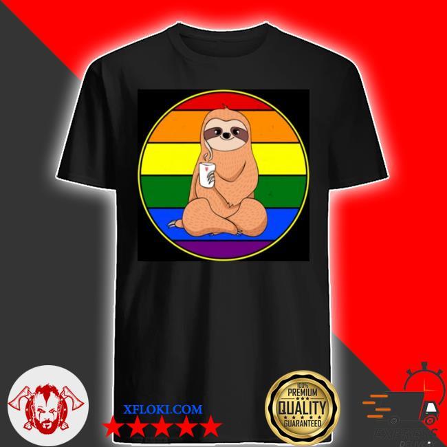 Gay sloth coffee retro rainbow circle LGBT pride stuff shirt