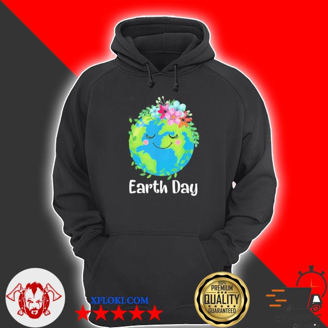 Happy earth day cute earth with floral earth day new 2021 s hoodie