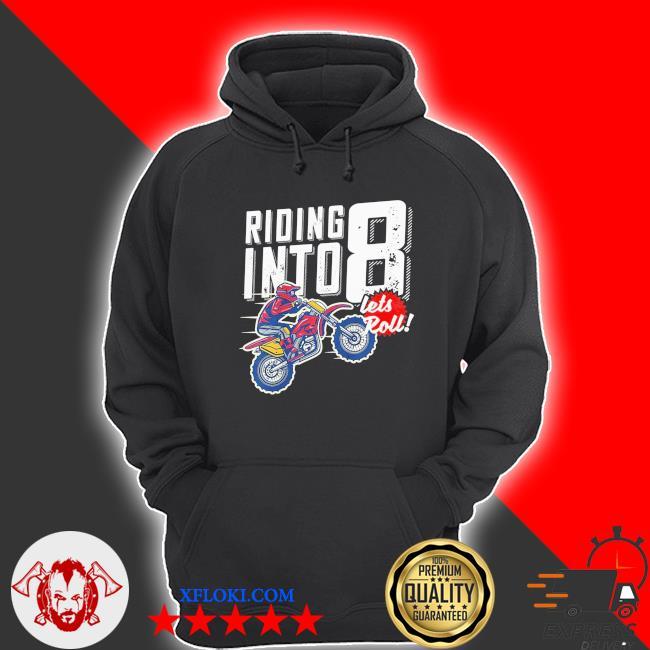 Youth 8th birthday motocross dirt bike birthday riding into 8 new 2021 s hoodie