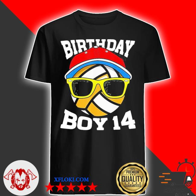 14th birthday boys 14 years old volleyball shirt