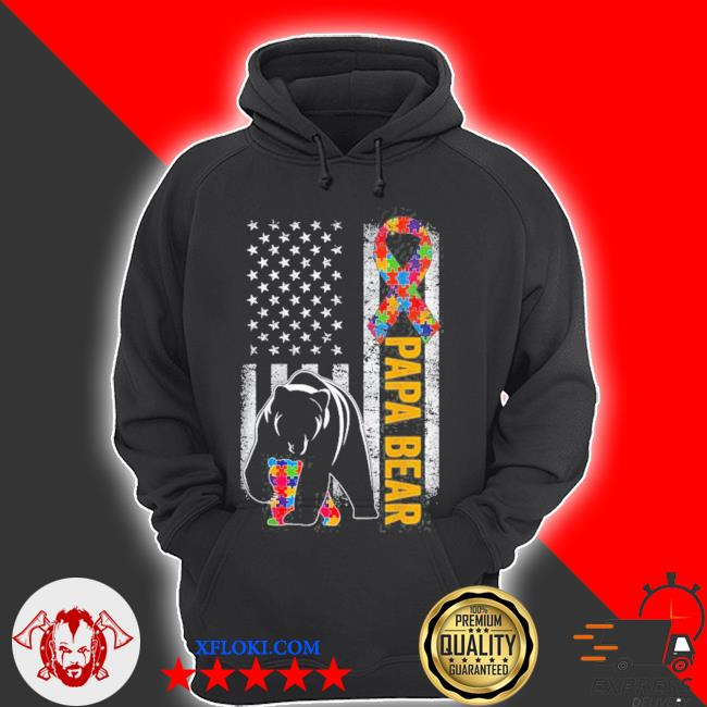 Autism dad papa bear American flag autism awareness s hoodie
