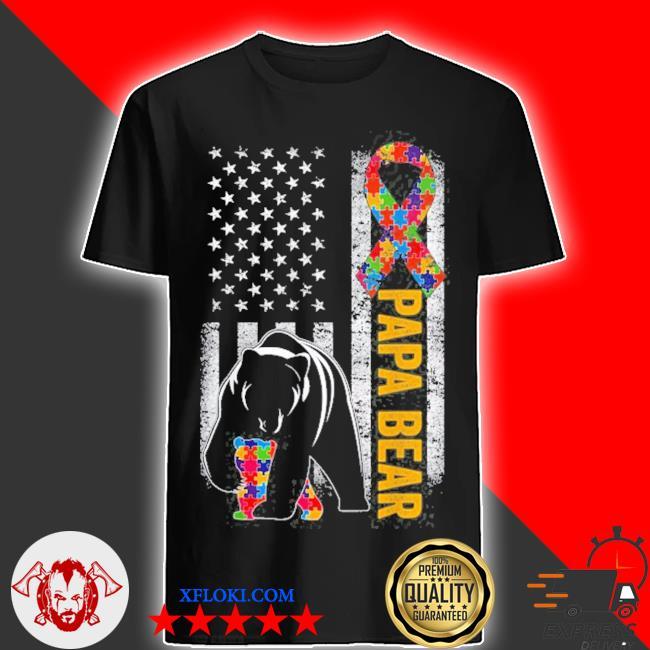 Autism dad papa bear American flag autism awareness shirt