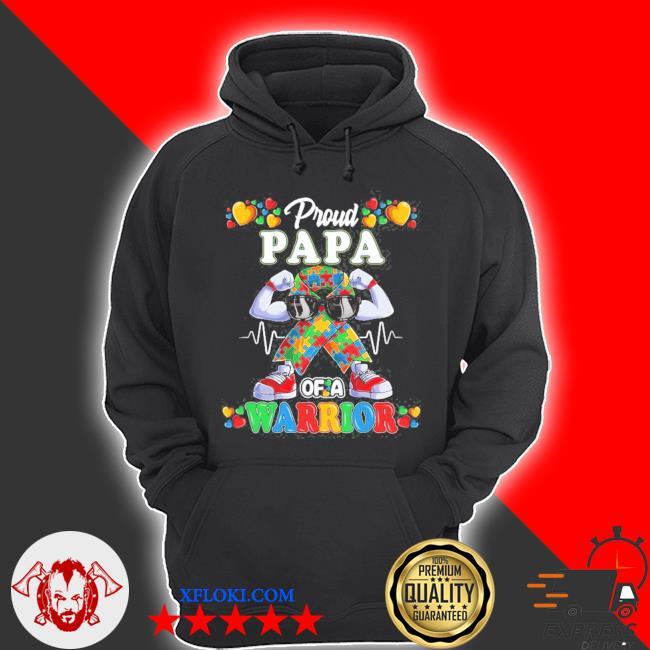 Autistic ribbon puzzle papa of autism awareness warrior s hoodie