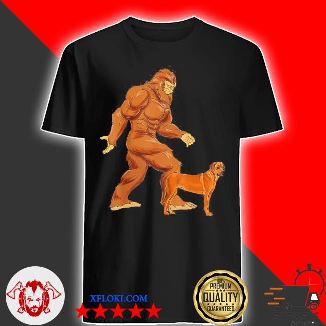 Funny bigfoot walking rhodesian ridgeback sasquatch dog shirt