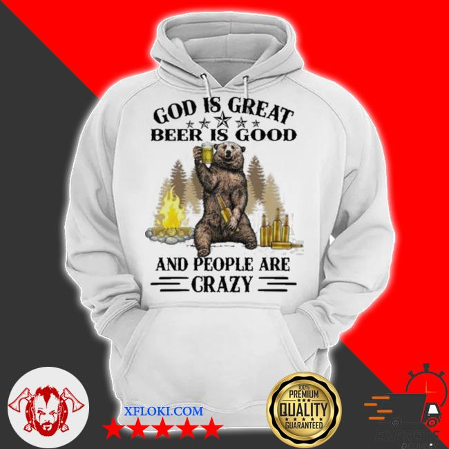 God is great bbq is good and people are crazy graphic funny camping s hoodie