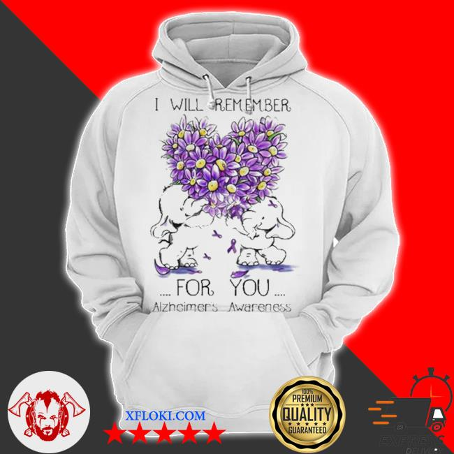 I will remember for you alzheimer's awareness elephant heart flower s hoodie