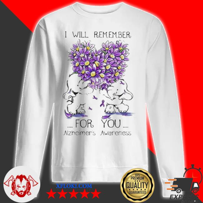 I will remember for you alzheimer's awareness elephant heart flower s sweatshirt
