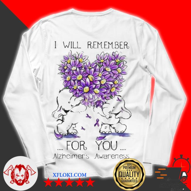 I will remember for you alzheimer's awareness elephant heart flower s unisex longsleeve