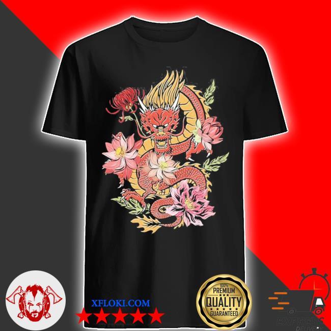 Japanische drache mit blumen vintage dragon aesthetic new 2021 shirt