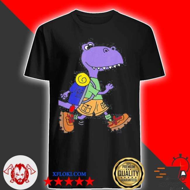 Smileteeshoba trex dinosaur hiking nature cartoon shirt