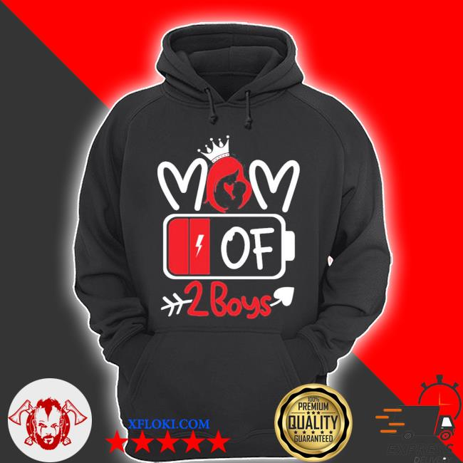 Trending mom of 2 boys low battery tired mom crown heart mom life gift for mother's day s hoodie
