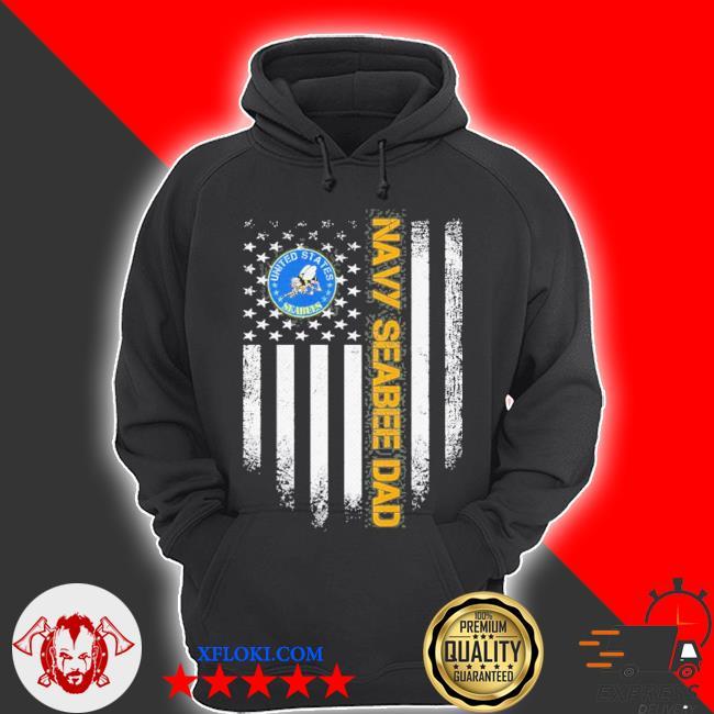 Vintage usa American flag proud us navy seabee veteran dad s hoodie