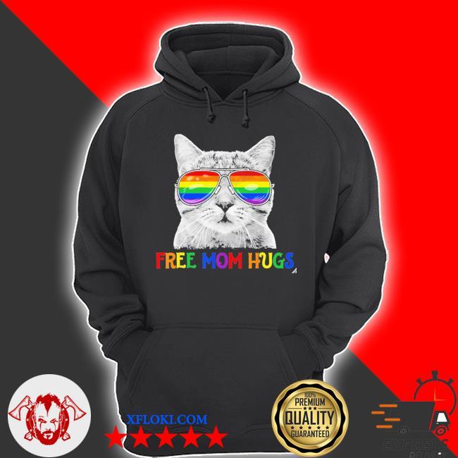 Free Mom Hugs Purride Proud Ally Cat Rainbow Flag LGBT Pride 2021 Shirt hoodie