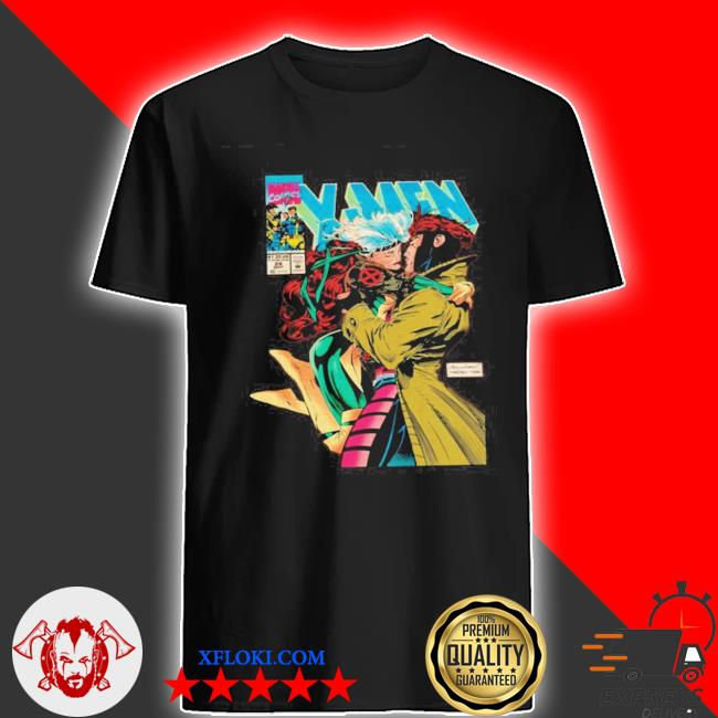 Gambit and rogue xmen as vintage comic cover black t-shirt