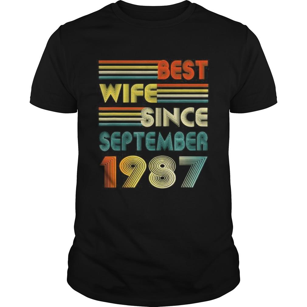 33rd Wedding Anniversary Gift Best Wife Since September 1987 Unisex
