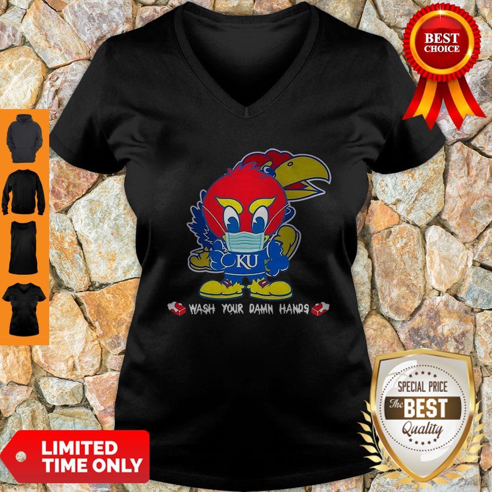Kansas Jayhawks Wash Your Damn Hands COVID-19 V-neck