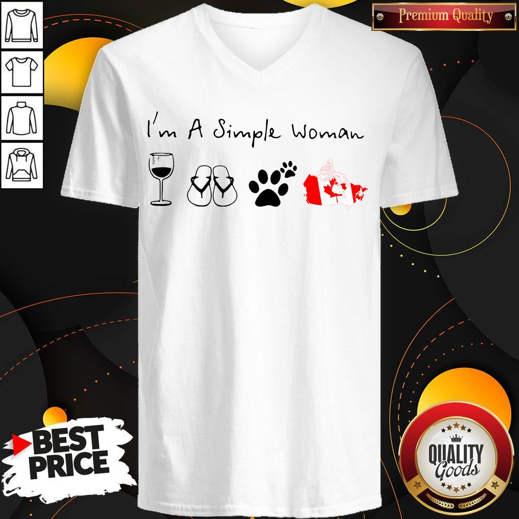 Prettyt I'm A Simple Woman Wine Flip Flop Dog Paw And Canada Flag V-neck