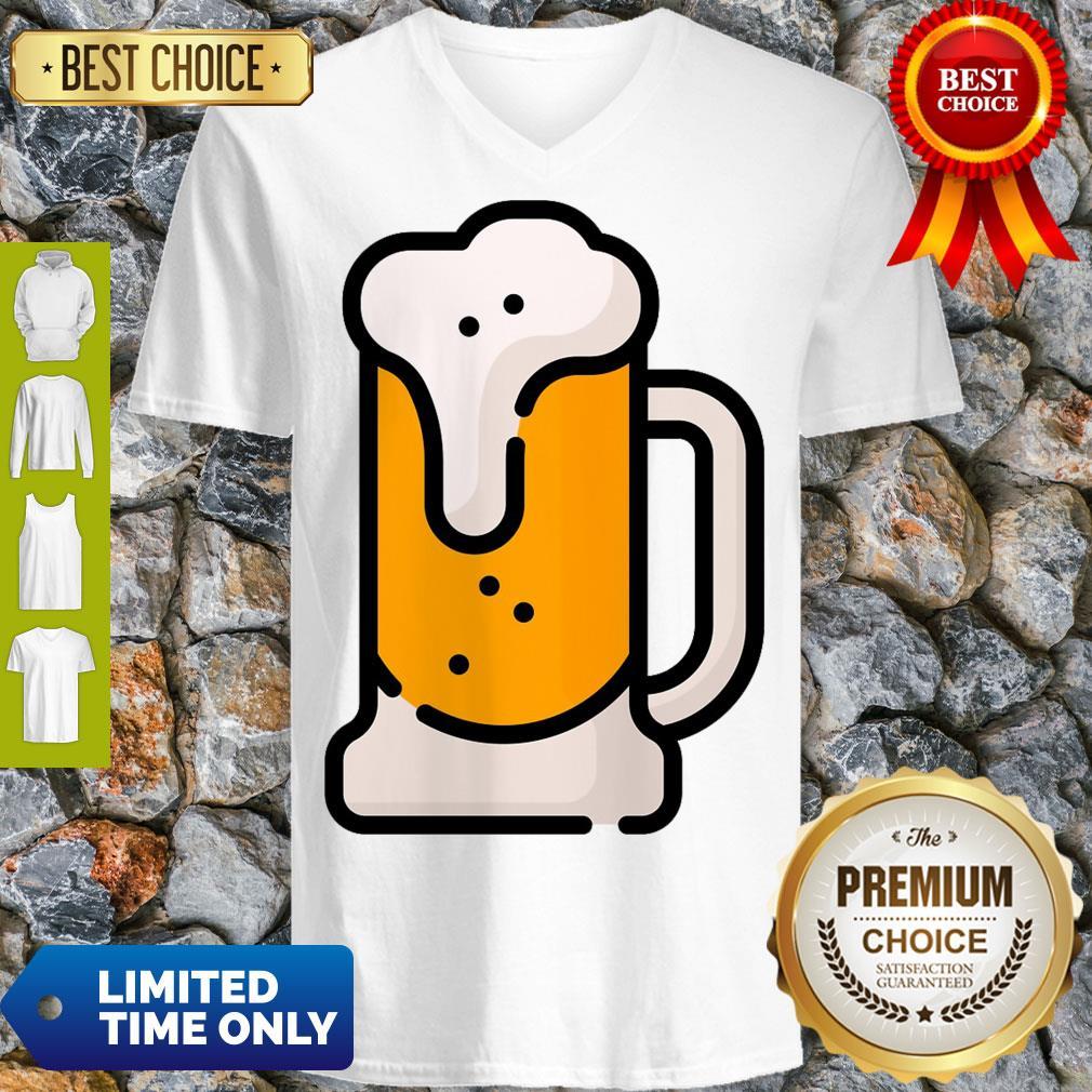 Beer Mug Pint Glass Alcohol Drink Drinks Pub Bar Party Drinking Beverage Cocktail Liquor Oktoberfest Cartoon Art Graphic V-neck