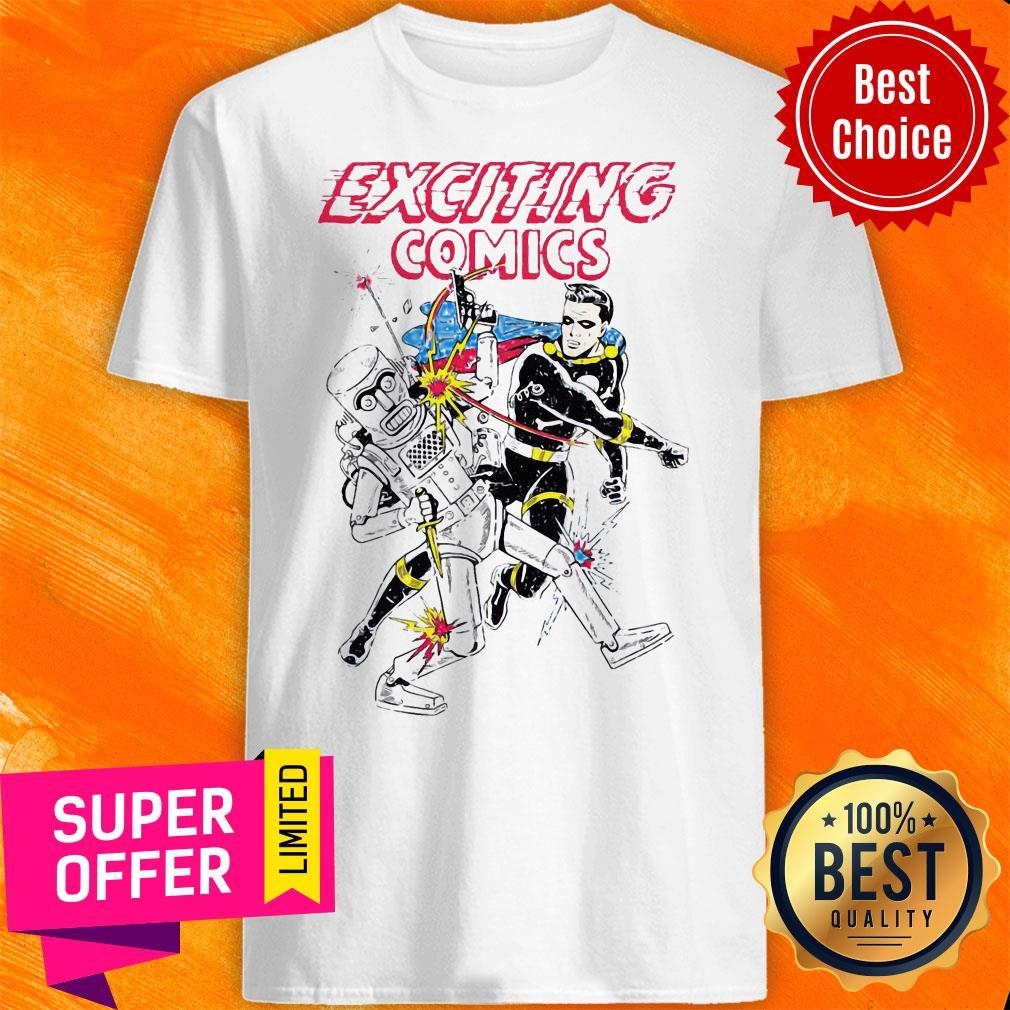 Awesome Retro Robot And Superhero Exciting Comics Shirt
