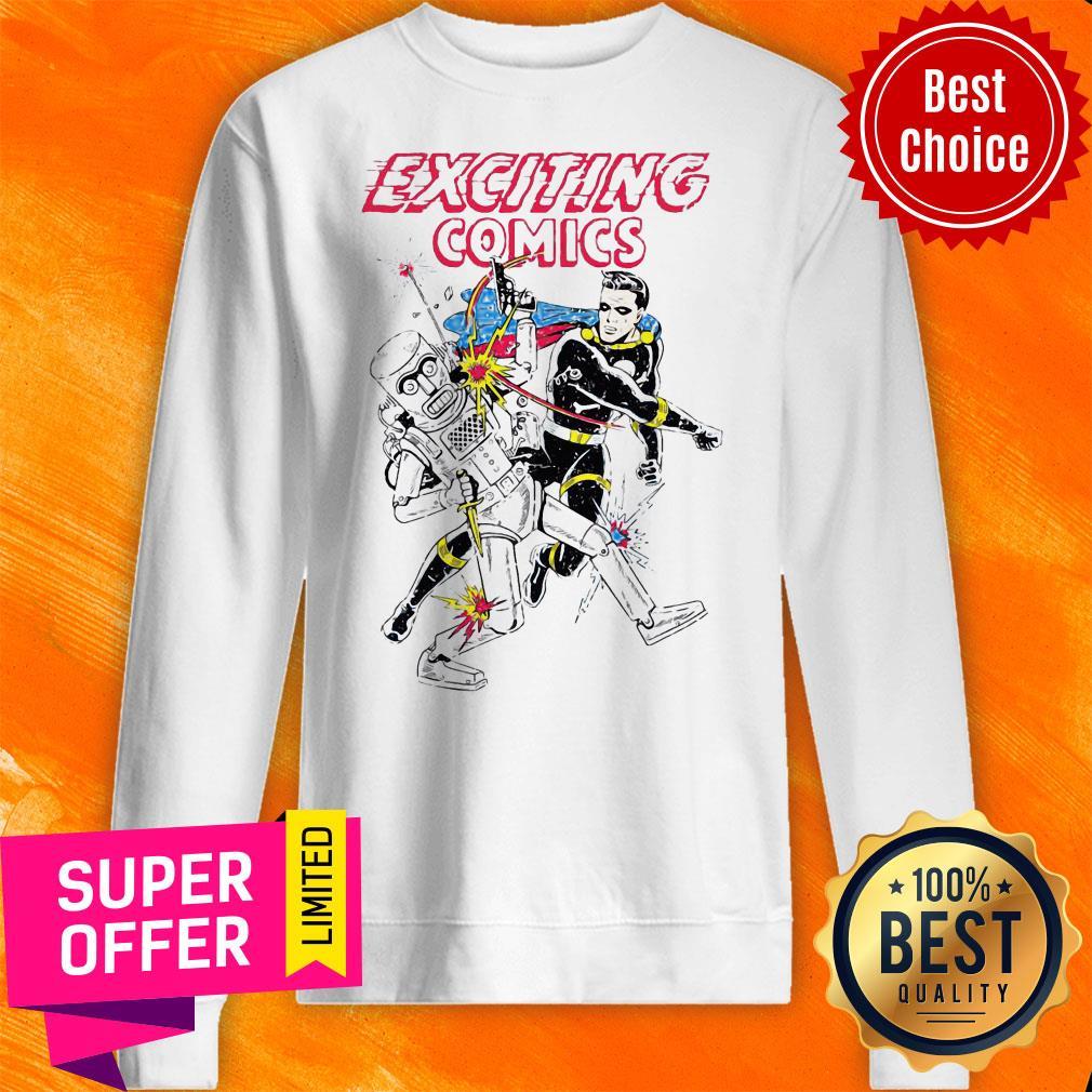 Awesome Retro Robot And Superhero Exciting Comics Sweatshirt
