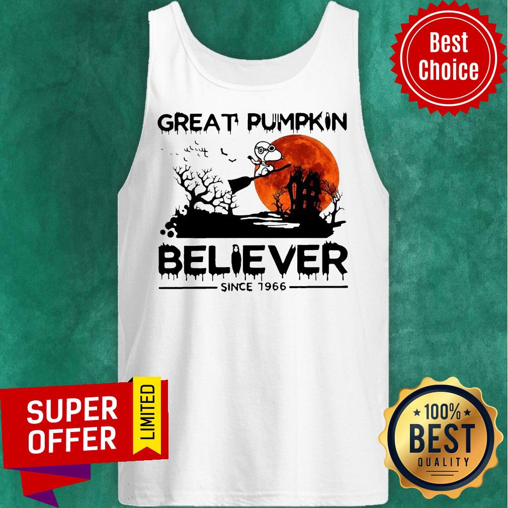 Nice Snoopy Great Pumpkin Believer Since 1966 Halloween Tank Top