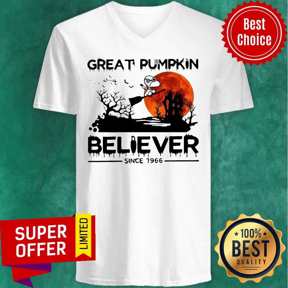 Nice Snoopy Great Pumpkin Believer Since 1966 Halloween V-neck