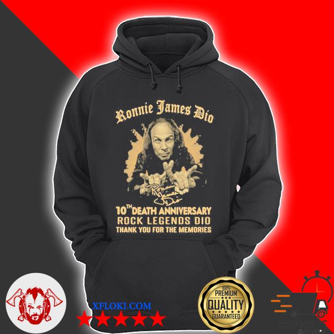 Ronnie james dio 10th death anniversary rock legends dio thank you for the memories signature s hoodie