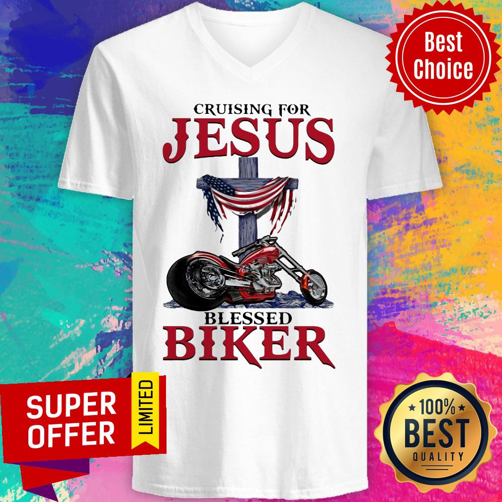Top Cruising For Jesus Blessed Biker V-neck