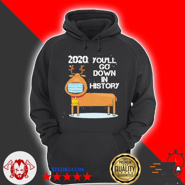 2020 you'll go down in history funny reindeer wearing mask ugly sweater hoodie