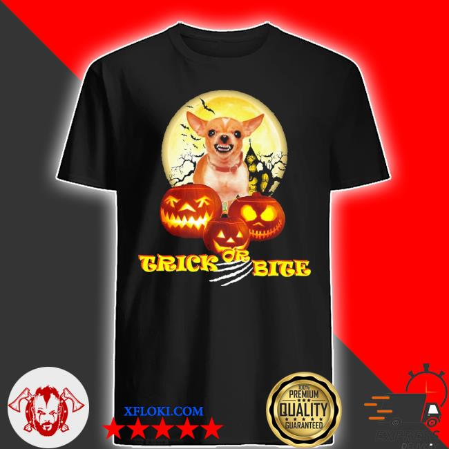 Chihuahua trick or bite Halloween pumpkin shirt