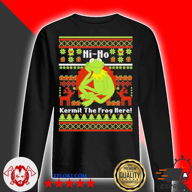 Hi ho kermit the frog here ugly christmas s sweater