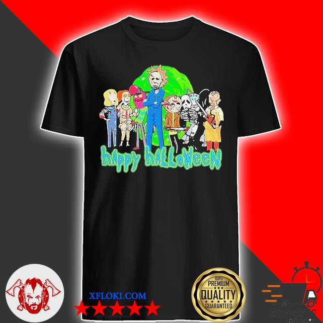 Horror character style rick and morty happy halloween shirt