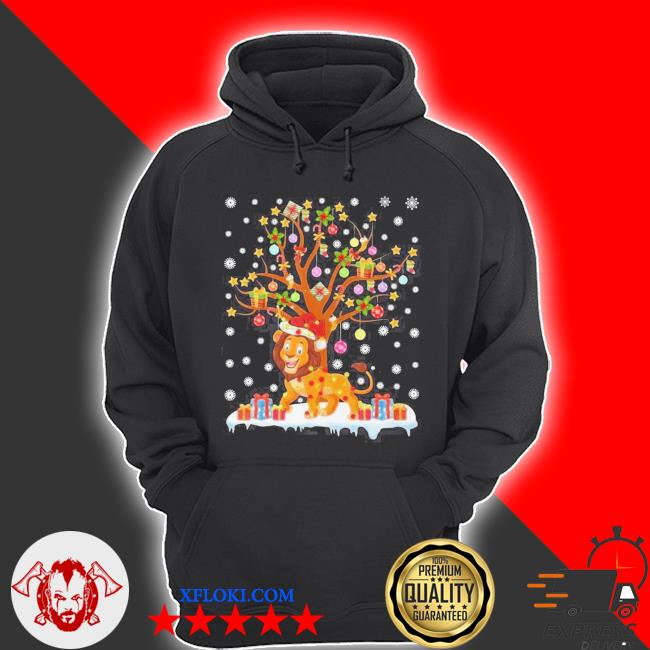 Lion lighting xmas tree lion ugly christmas sweater hoodie