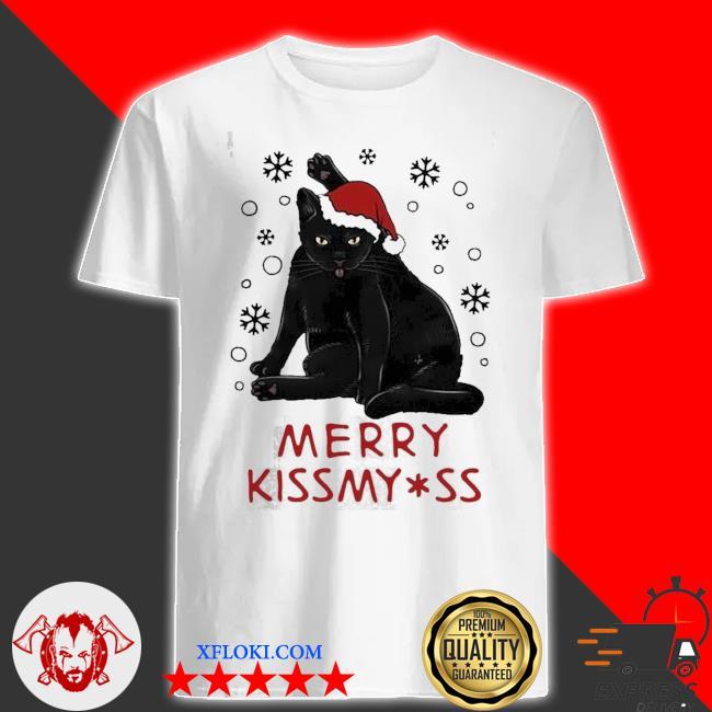 Santa black cat merry christmas kiss my ass ugly sweater