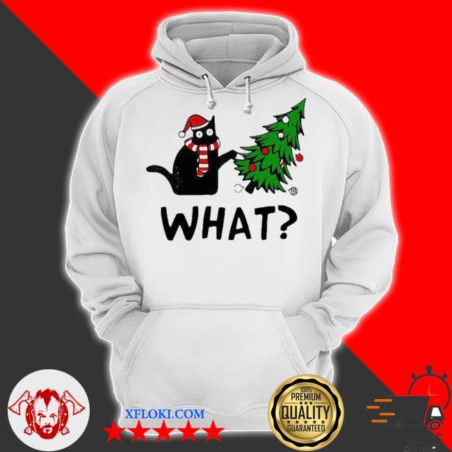 Santa black cat what christmas tree sweater hoodie