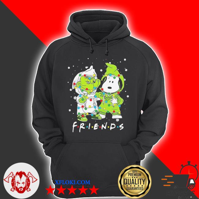 Baby grinch and snoopy friends merry Christmas light sweater hoodie
