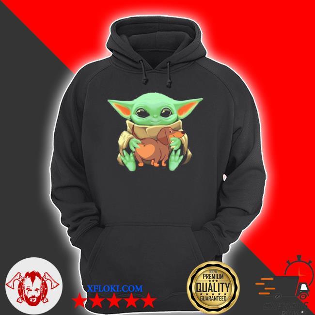 Baby yoda hug dachshund dog s hoodie