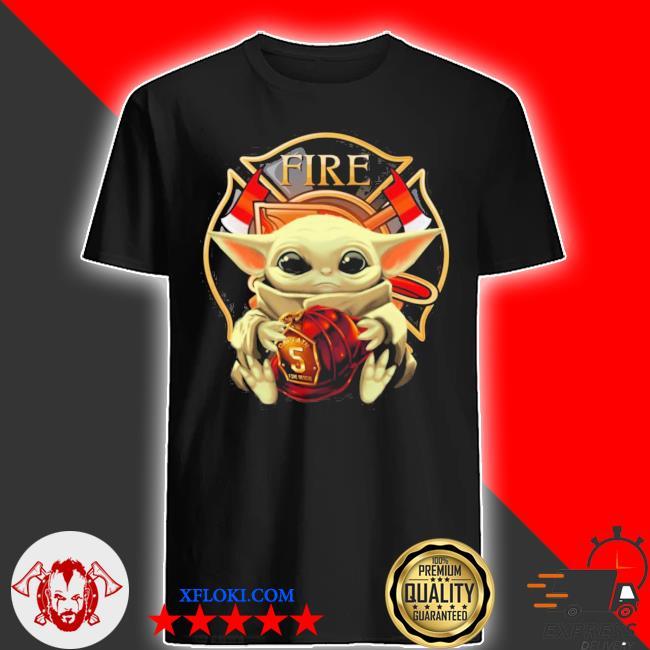 Baby yoda hug firefighter fire shirt