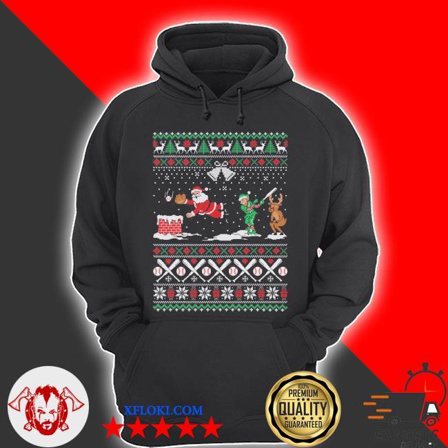 Baseball ugly Christmas sweater hoodie