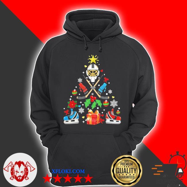 Hockey christmas tree ugly christmas sweater hoodie