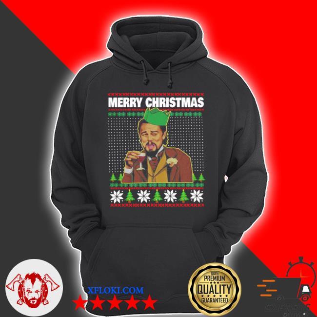 Leo laughing dank meme merry Christmas ugly sweater hoodie