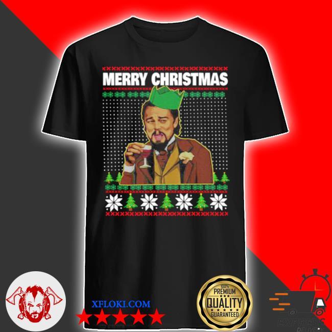 Leo laughing dank meme merry Christmas ugly sweater