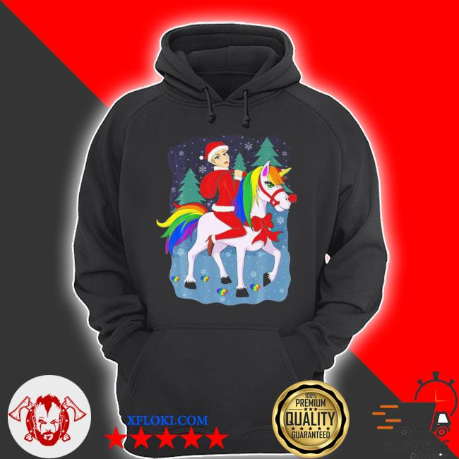LGBT Women santa claus riding a unicorn ugly christmas sweater hoodie