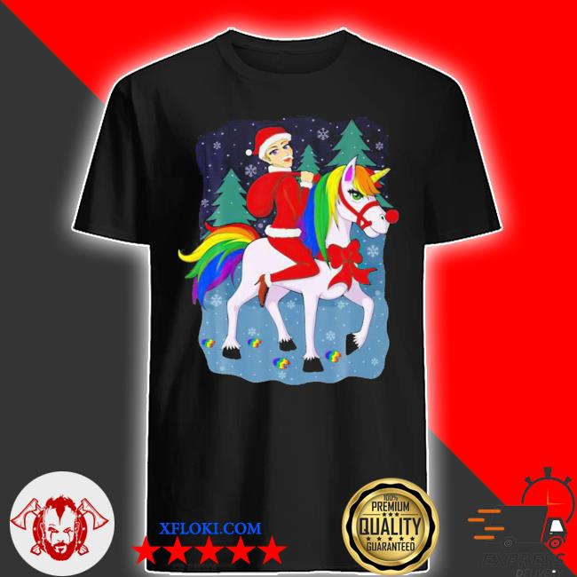 LGBT Women santa claus riding a unicorn ugly christmas sweater