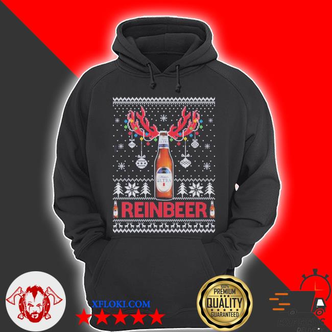 Michelob ultra ugly christmas sweater hoodie