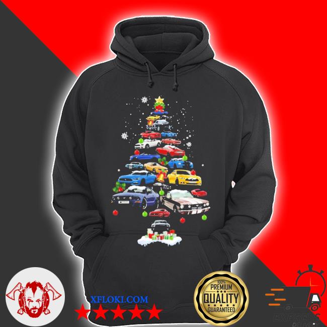 Mustang car Christmas tree sweater hoodie