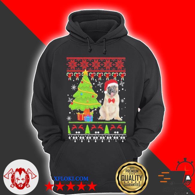 Pug santa ugly merry Christmas tree sweater hoodie