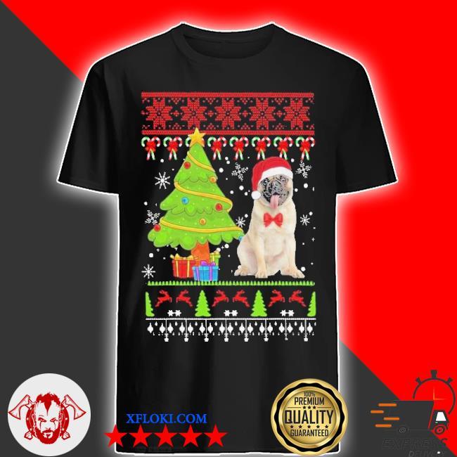 Pug santa ugly merry Christmas tree sweater